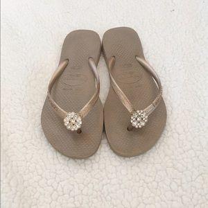 Havaianas Shoes - Havaina Brand Jeweled Flip Flops