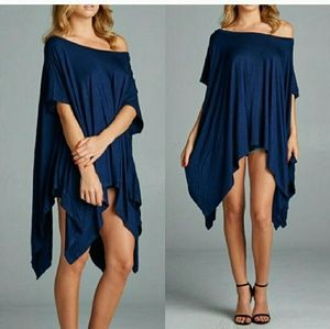 April Spirit Tops - Trendy Off-the-Shoulder Tunic (navy)