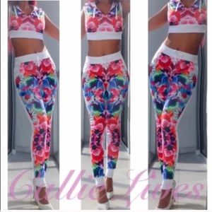 Callie Lives Pants - XL White Red Pink Hoody Crop Top Floral Jogger SET