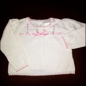 """Little Me Other - 🌷""""Signature Little Me"""" White SweaterW/Pink Ribbon"""