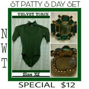 Velvet Torch Tops - Body suit W/Stretch Rhinestone Ring $8