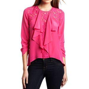BCBGMaxazria Lilliana Pink Ruffle Blouse Size S