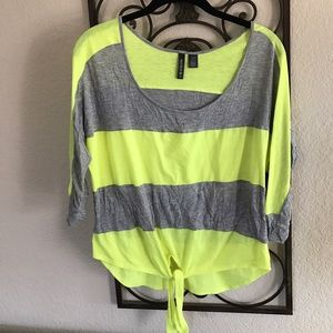 Fox Tops - Neon Green and Grey Top