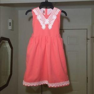 Kids Salmon dress w/ ivory lace details & tie sash