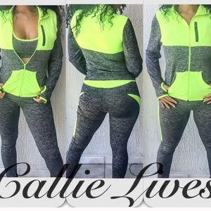 Callie Lives Pants - 2PC Yoga Jogger SET Neon YELLOW Jacket Leggings