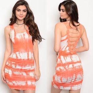 Orange & White Tie-Dye Crochet Cut-Out Back Dress