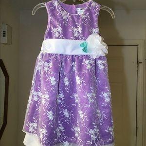 Kids Purple dress w floral print tulle & flower