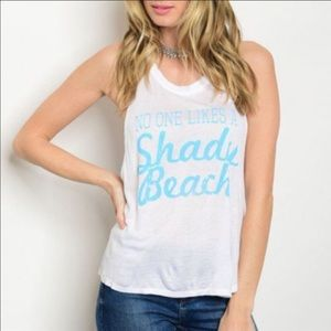 WILA Tops - SALE! Shady beach tank top blue white