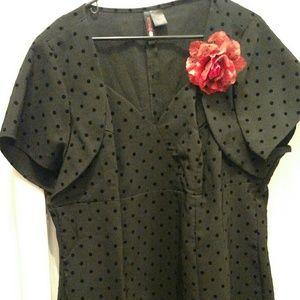 Retro Chic Tops - Black polka dot rockabilly blouse Torrid Size 3