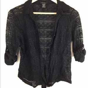 Timing Tops - Women's Black Lace Button-down Top