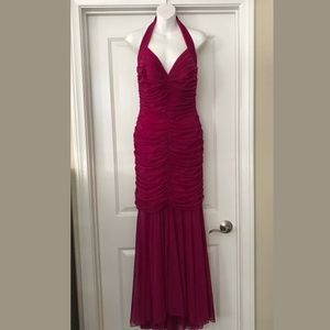 TADASHI collection Fuchsia pink ruched gown L NEW