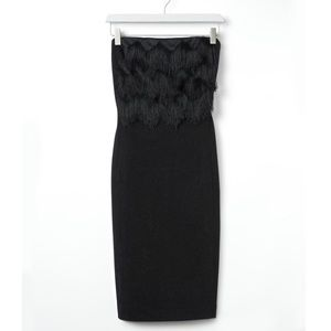 Banana Republic Black Fringe Knit Dress