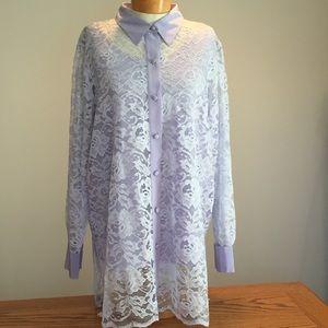 Bob Mackie Tops - 🆕 Bob Mackie light purple lace top. Size 1X