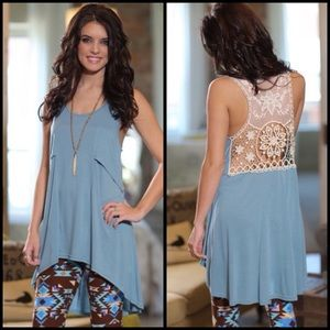 Tops - Blue Sleeveless Lace Back Tunic