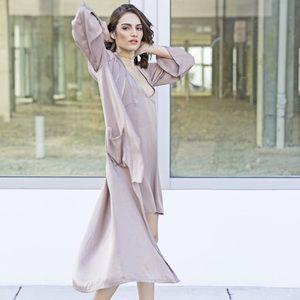 Style Link Miami Jackets & Blazers - ▫️LAST 1▫️PINK MUAVE SATIN LONG JACKET