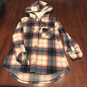 Polly & Esther Tops - Polly & Esther Plaid Hoody