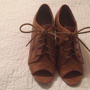 bamboo Shoes - Peep Toe Heeled Bootie - 6