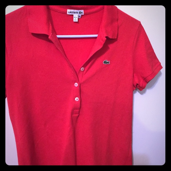 8c4fc12ccfad Lacoste Tops - Lacoste Orange Red Collared Polo Shirt 👚
