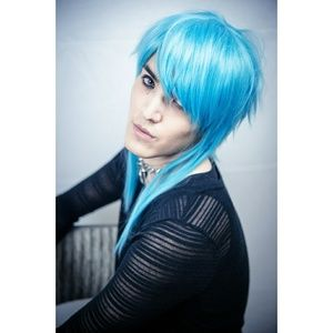 Blue Anime Cosplay Wig Long Front Short Back Uniqu