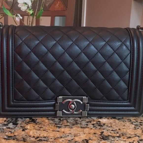 a2854099c798 CHANEL Handbags - Authentic CHANEL BLACK CALFSKIN OLD MEDIUM BOY RHW
