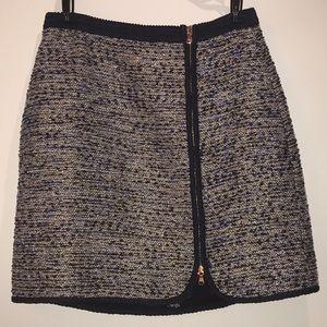 J. Crew Navy Tweed Skirt with Zipper Detail Size 4