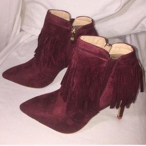 glaze Shoes - ✨Wine Sz. 6 Fringe Ankle Boots✨