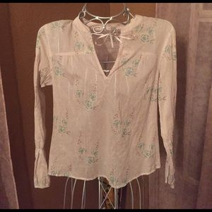 Tops - Ladies sheer cream turquoise floral shirt small