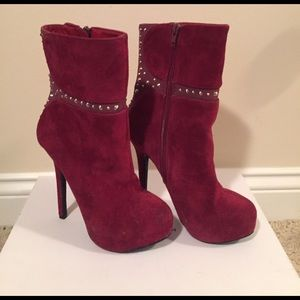 Studded burgundy ankle boots