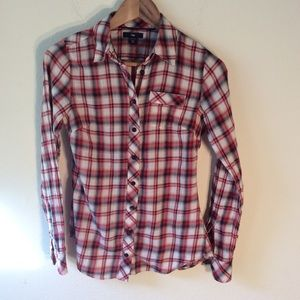 Gap Stretch Women's Red Plaid Button Down Shirt XS