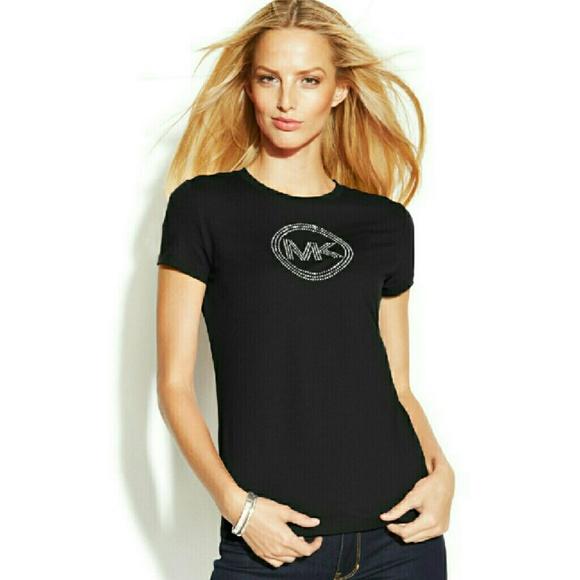 f2147cde54d0f0 MICHAEL KORS MK Circle Logo Black T-Shirt Top