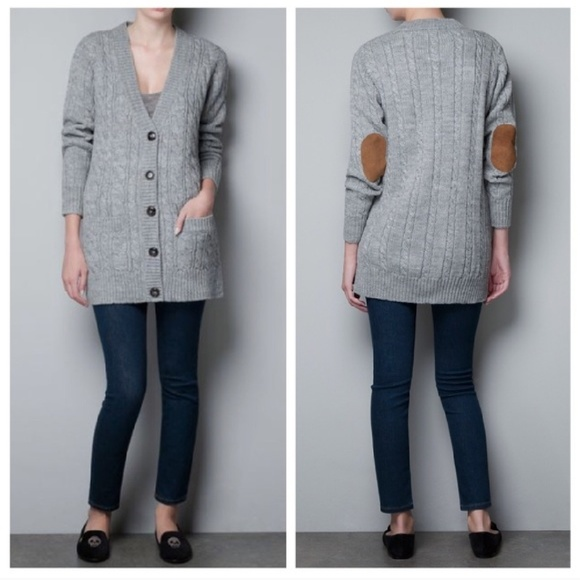 100% off Zara Sweaters - Zara Gray Cable Knit Long Cardigan W ...