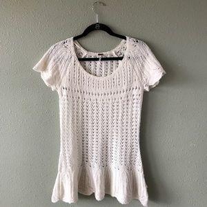 Free People Crochet Tunic top SZ M soft ivory