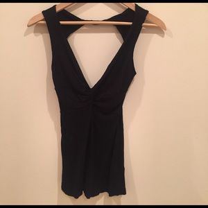 Honey Punch Tops - Sexy black tank with twist front and open back