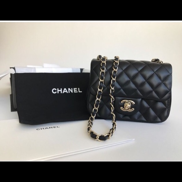 CHANEL - Chanel mini square flap black lambskin 17c from ...
