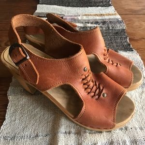 No. 6 Shoes - No. 6 Clogs Cognac Cutout Sandal Heels size 6.5