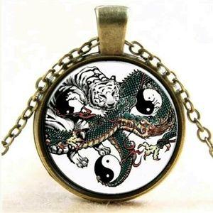 Oriental dragon tiger ying yang tibet bronze