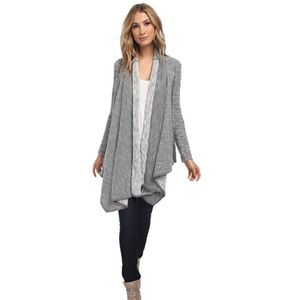 Grey knitted open sweater
