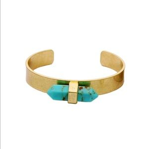 Gold toned boho cuff with turquoise stone