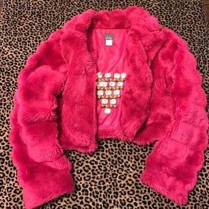 Dots Jackets & Coats - Pink Panther Faux Fur