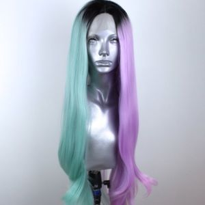 Half Green Half Purple Lace Front Synthetic wig