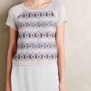 Anthropologie DoLan skirted Tee Top Gray Woven