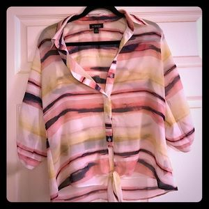Amy Byer Tops - Button up quarter sleeve summer blouse