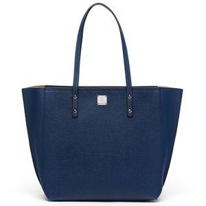 MCM Handbags - NEW MCM SOPHIE TOP ZIP LEATHER SHOPPER/ NAVY BLUE