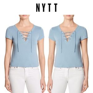 NYTT Tops - NWOT NYTT Cropped Lace-Up Ivory Short Sleeve Tee