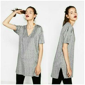 Zara Silver Grey Ribbed V Neck Top