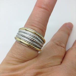 David Yurman Jewelry - David Yurman Sterling silver 18k gold ring band
