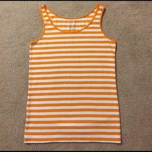 Stylus Tops - Stylus Tank Orange and White Striped XL