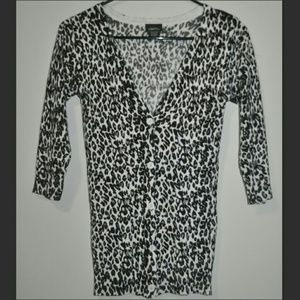 White Grey Leopard Print Cardigan Sweater ❤