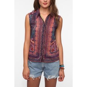 Urban Outfitters Printed Sleeveless Blouse