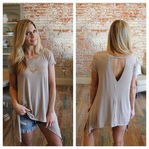 Tops - Mocha asymmetrical short sleeve tunic